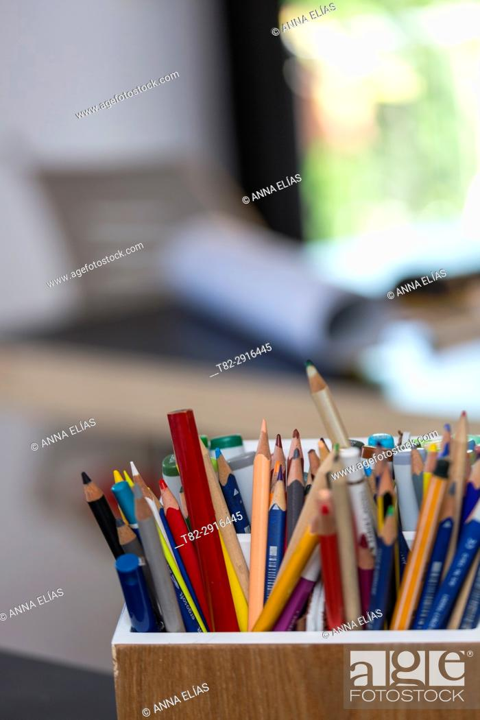 Stock Photo: Many colored pencils on an office table, Seville.