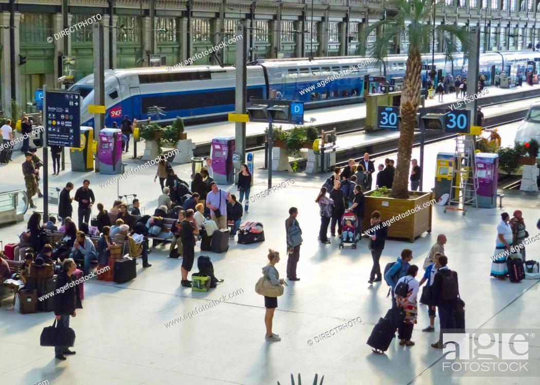 Stock Photo: Paris, France, French TGV Bullet Train, on Quay, inside Gare de Lyon Train Station.