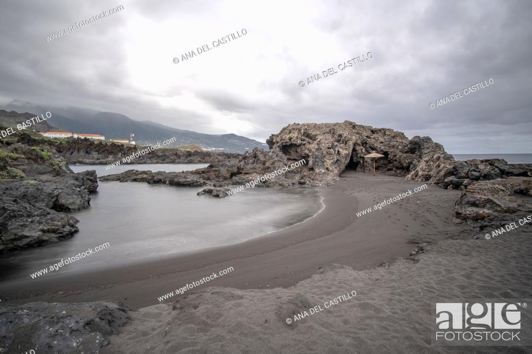 Stock Photo: Los Cancajos black beach in the South of La Palma island Canary islands Spain.