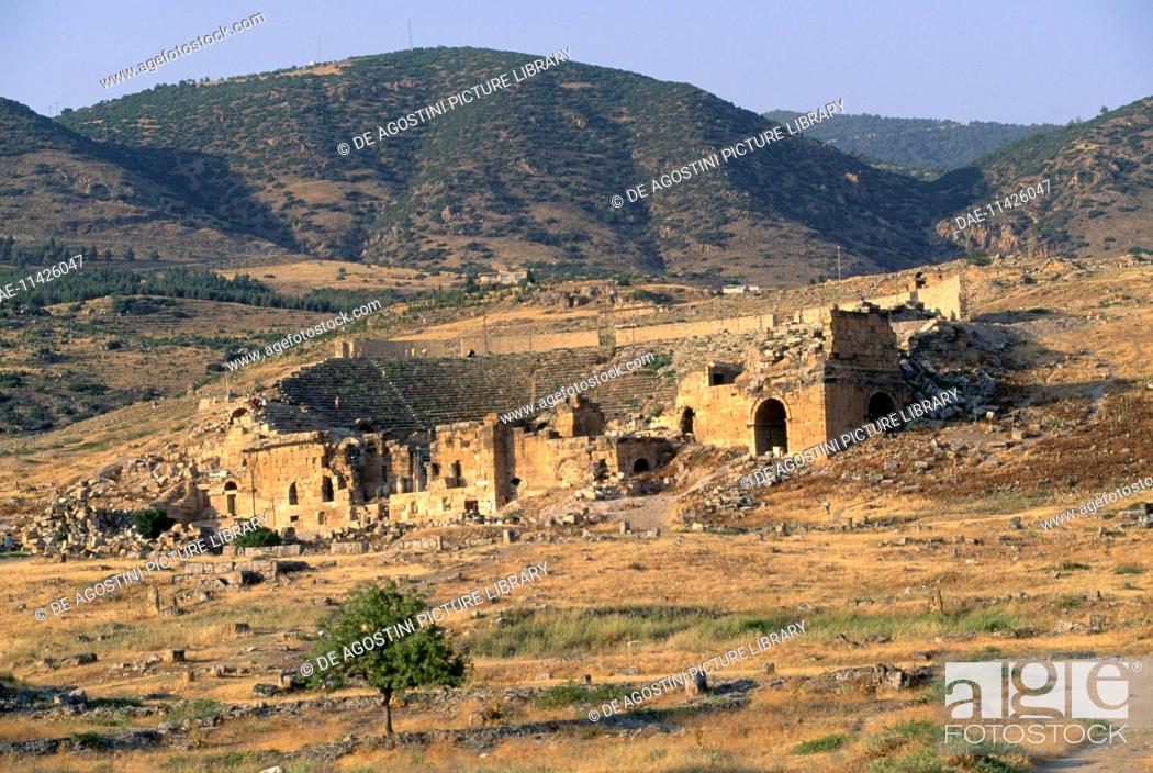 Stock Photo: Roman theatre at Hierapolis, Pamukkale (UNESCO World Heritage List, 1988), Turkey. Roman civilisation.