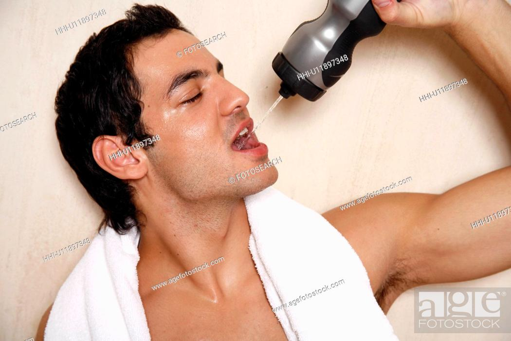 Stock Photo: Man cooling off after the gym.