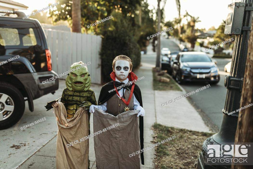 Stock Photo: Young siblings dressed in Halloween costumes during Trick-or-Treat.