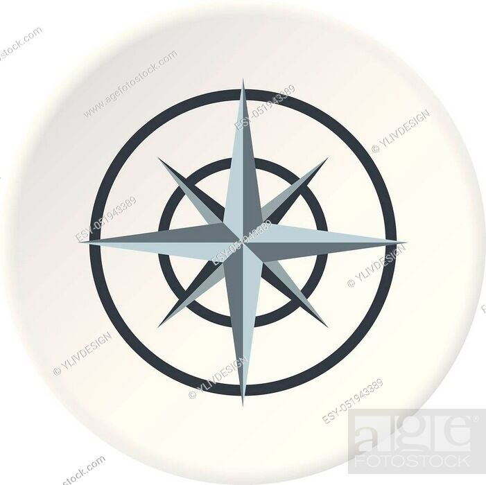 Vector: Ancient compass icon in flat circle isolated vector illustration for web.