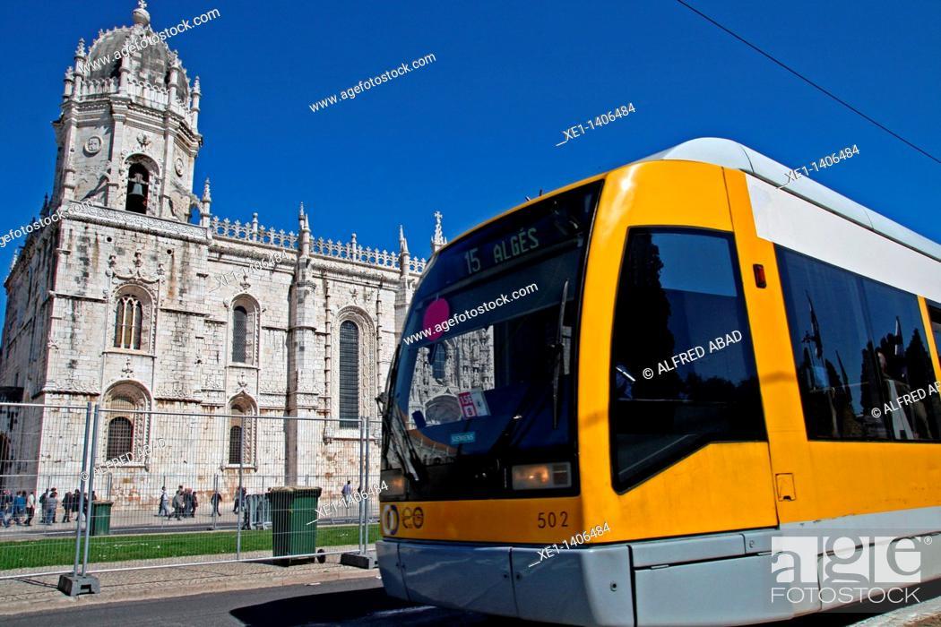 Stock Photo: tram, Jeronimos Monastery, Belem, Lisbon, Portugal.