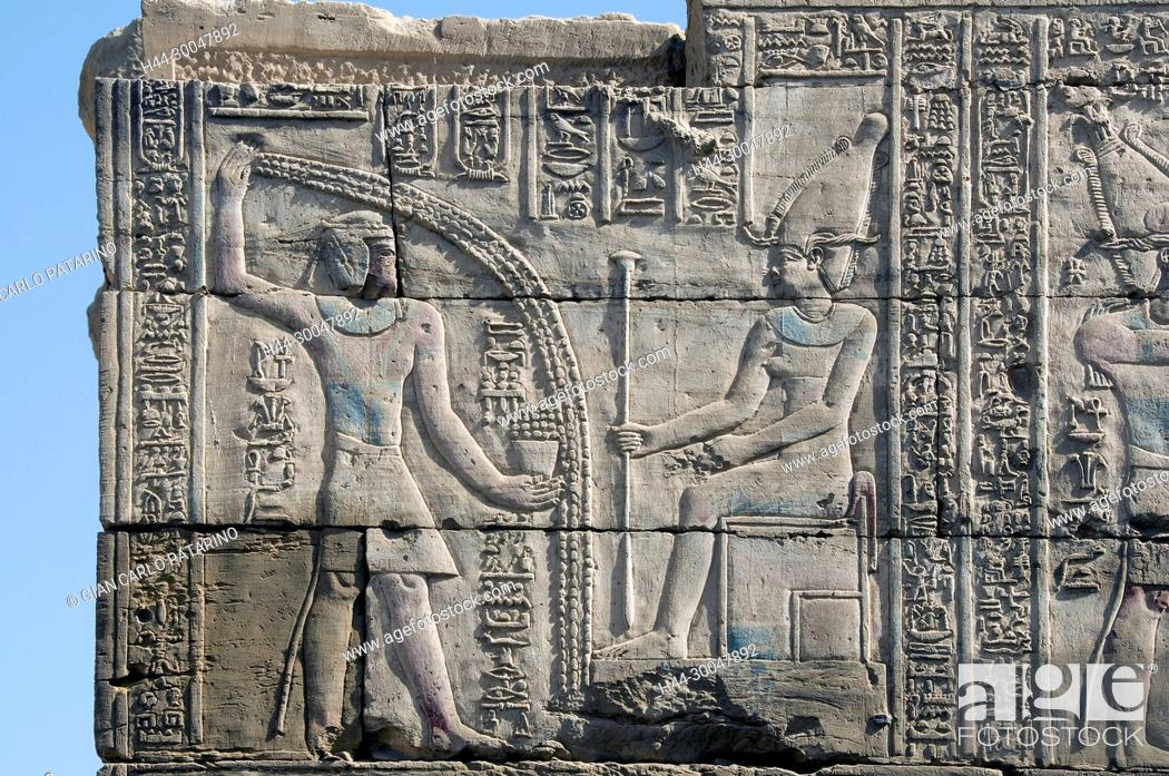 Stock Photo: Dendera Egypt, ptolemaic temple dedicated to the goddess Hathor. Carvings on external wall of the mammisi.