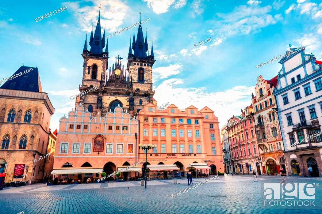 Stock Photo: PRAGUE, CZECH REPUBLIC - MAY 14, 2016: Old Town Square with Tyn Church is one of the most recognisable sights on Old Town Square.