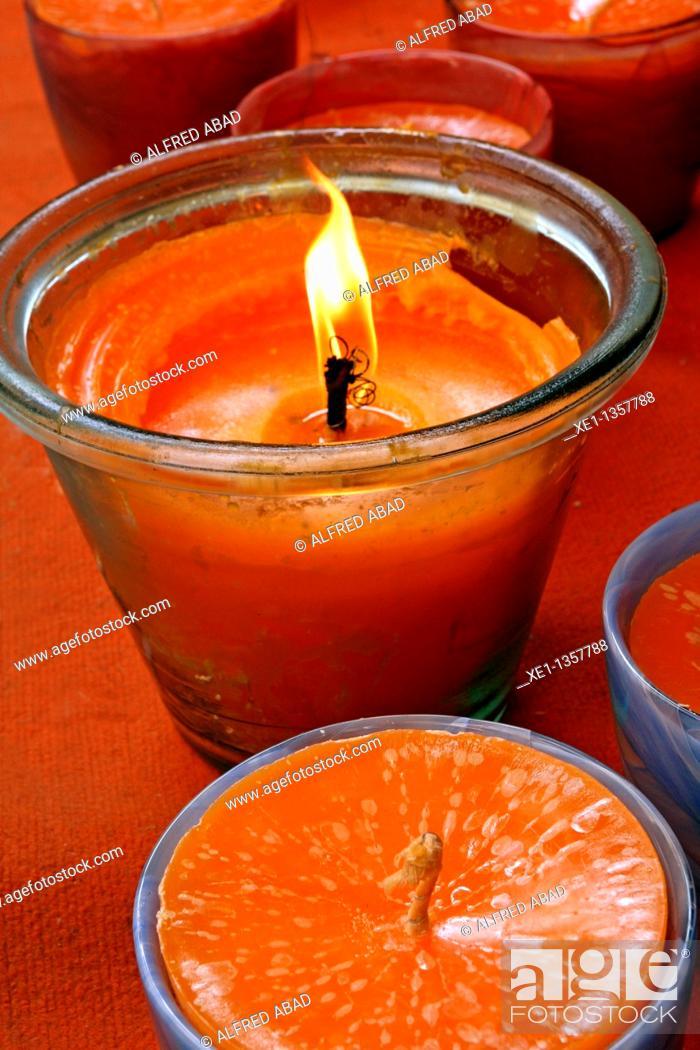 Stock Photo: Orange candles.