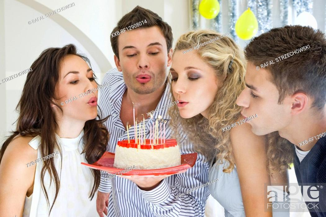 Stock Photo: friends celebrating birthday.