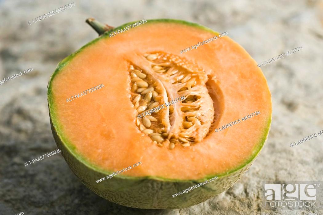 Stock Photo: Cantaloupe half.