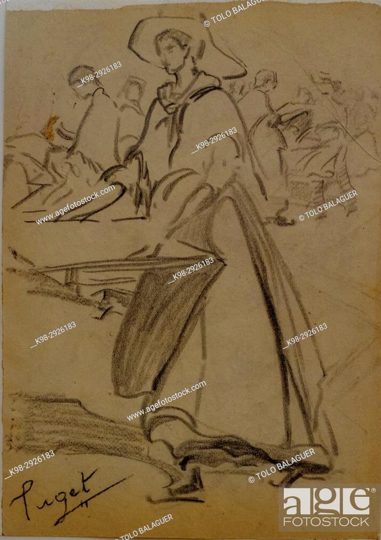 Photo de stock: mujer con bandeja de secar albaricoques, Narcís Puget Viñas, Charcoal drawing, Puget Museum, casa noble de Can LLaudis , Dalt Vila, Ibiza, Balearic Islands.