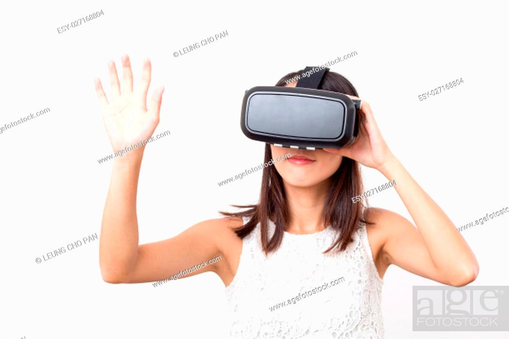 Stock Photo: Woman experience with virtual reality.