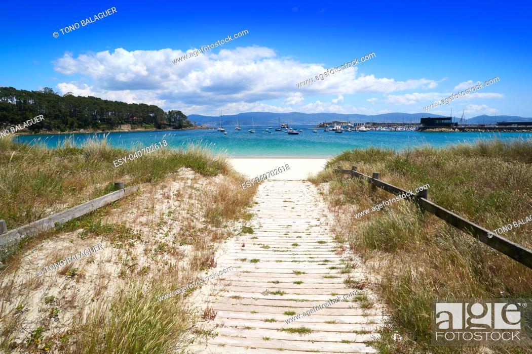 Stock Photo: Portonovo Baltar beach in Pontevedra of Galicia in Sanxenxo also Sanjenjo.