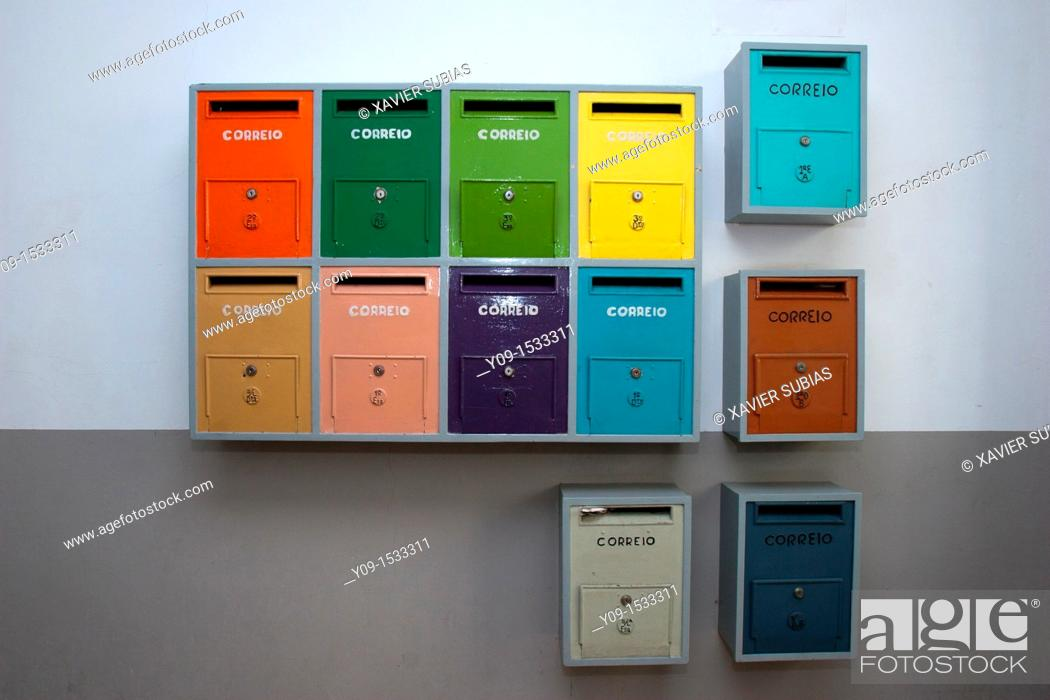 Stock Photo: Colourful mailboxes, Lisbon, Portugal.