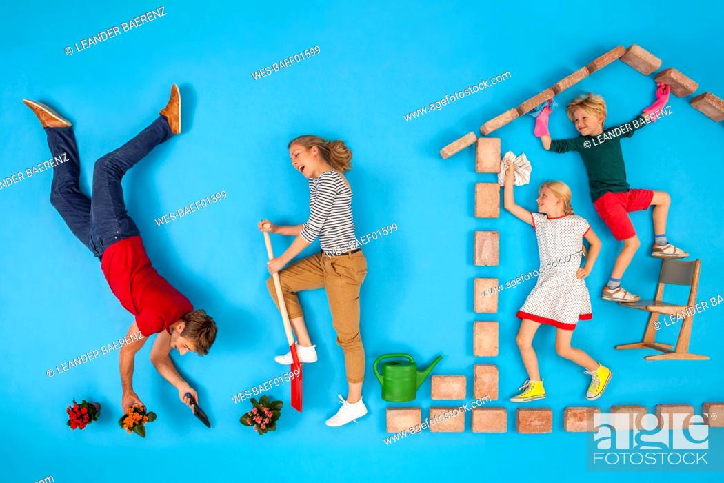 Stock Photo: Children are cleaning the house, while parents are working in the garden.