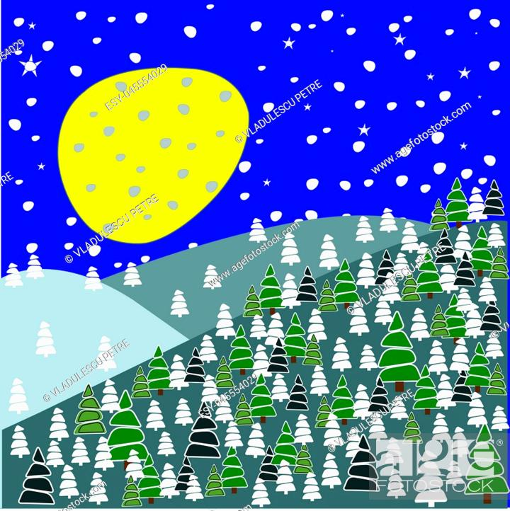 Vector: pine forest with snowflakes and stars.