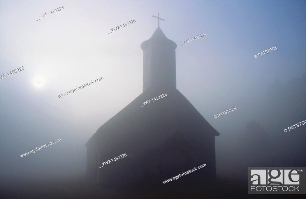 Stock Photo: A small church in the vicinity of Caulin village on Chiloe Island, Chile.