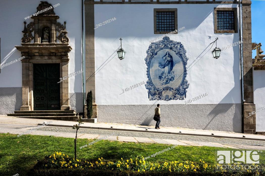 Stock Photo: Azulejos of the Church of Our Lady of Mount Carmel. Guimaraes, Braga District, Norte Region, Portugal, Europe.