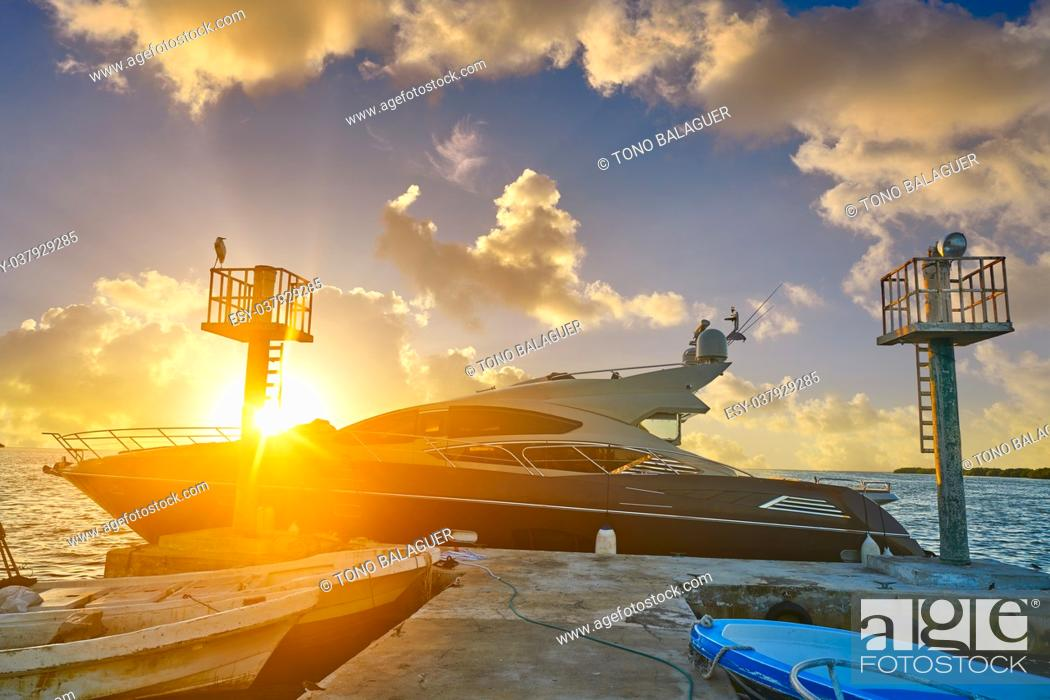 Stock Photo: Holbox island port sunset in Quintana Roo of Mexico.