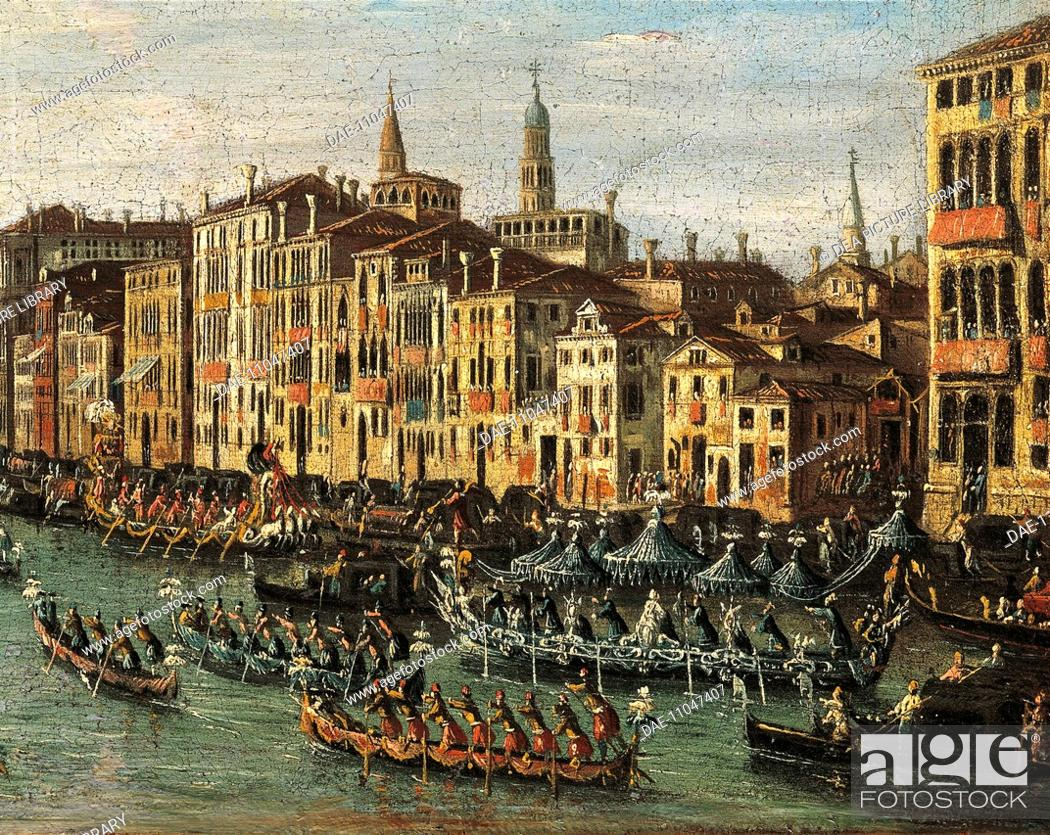 Stock Photo: Regatta on the Grand Canal, from the School of Canaletto, 17th-18th Century.  Venice, Museo Correr (Art Museum).