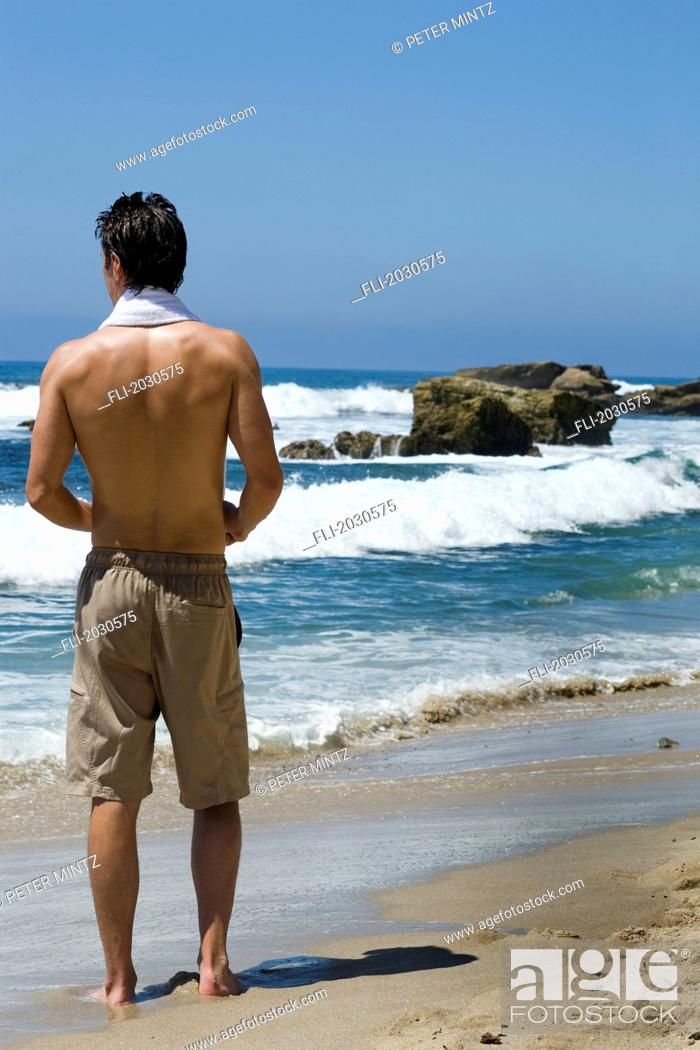 Stock Photo: Man On Beach, Los Angeles, California.