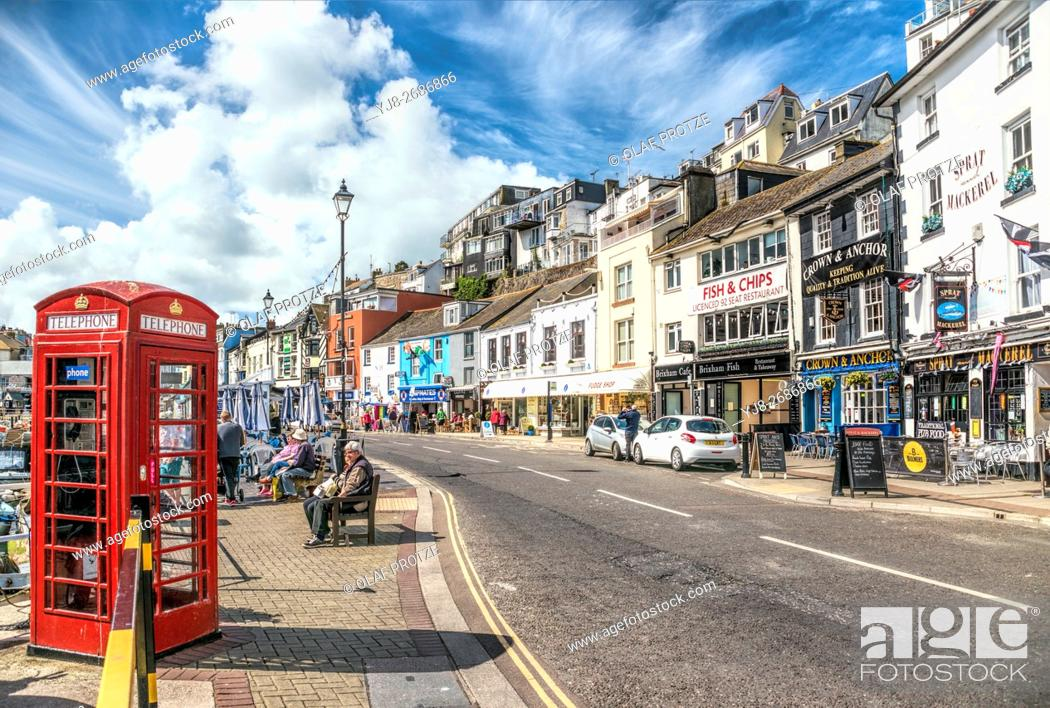 Stock Photo: View over waterfront of the small fishing town Brixham at the Torbay coast, England, UK.