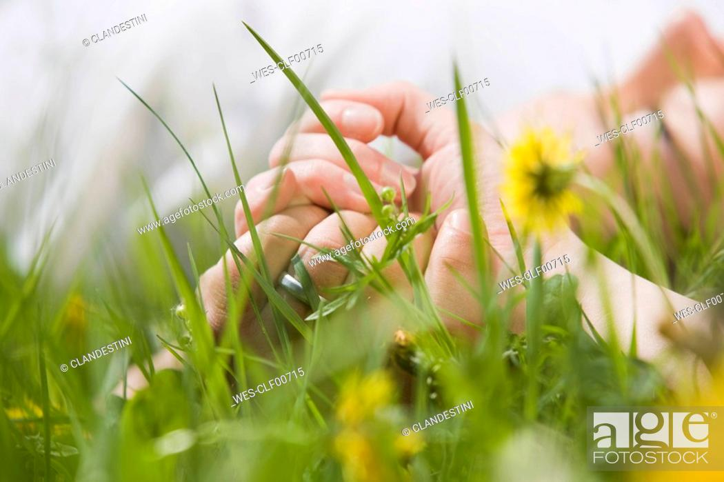 Stock Photo: Germany, Bavaria, Munich, Couple lying in meadow, holding hands, close-up.
