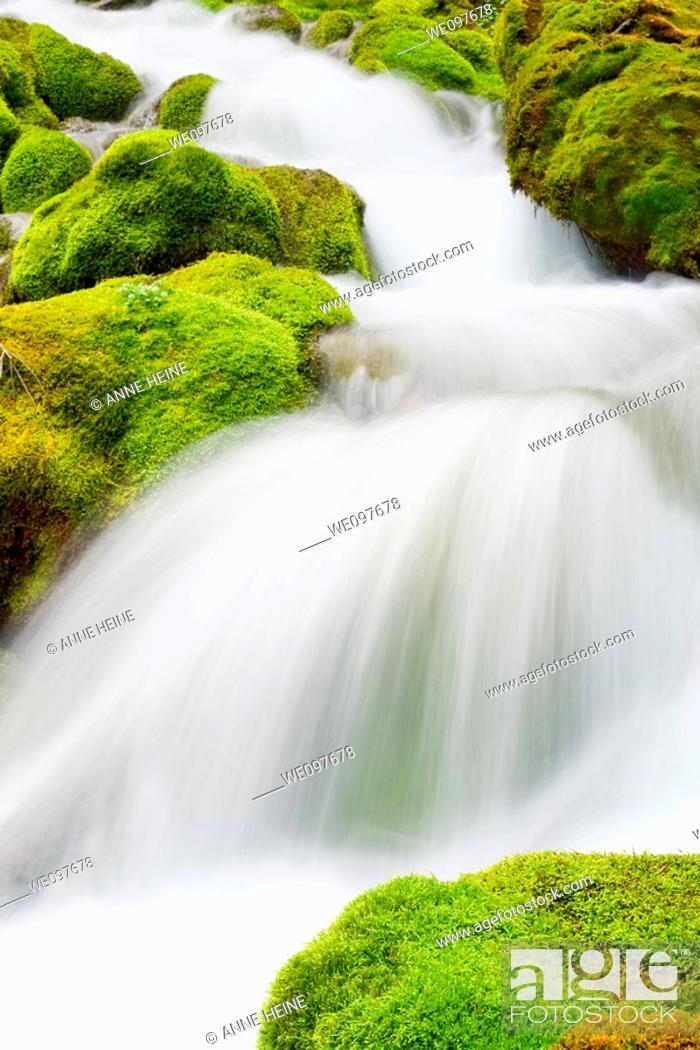 Stock Photo: natural waterfall in mountains.