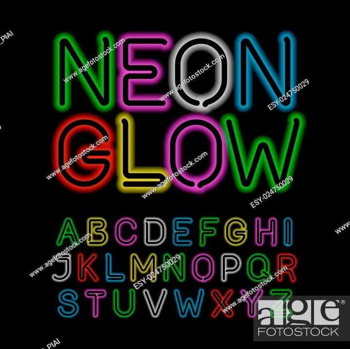 Stock Vector: Black neon glow alphabet.