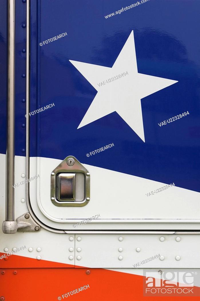 Stock Photo: Blue, Handlebar, Design, Close-Up, American Flag.