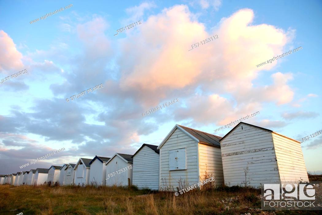 Stock Photo: Beach Huts in Shoreham by Sea, England.