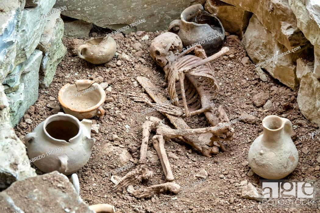 Stock Photo: Remains found in the necropolis of Gegali Yayla preserved in the Archaeological and Ethnographic Museum of Damirchi, Damirchi, Azerbaijan.