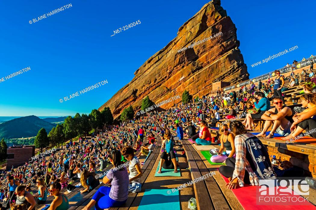 Yoga On The Rocks 2000 People Doing Yoga Together At Red Rocks Amphitheatre Stock Photo Picture And Rights Managed Image Pic N67 2240045 Agefotostock