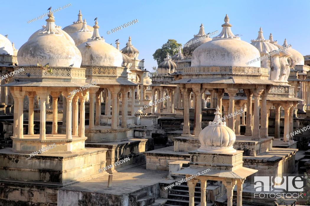 Stock Photo: Chattri Royal tombs, Ahar, Udaipur, India.