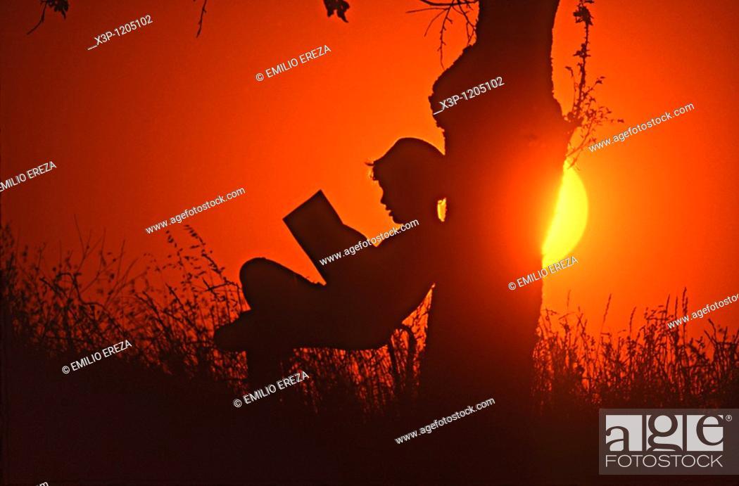 Stock Photo: Kid and sunset.