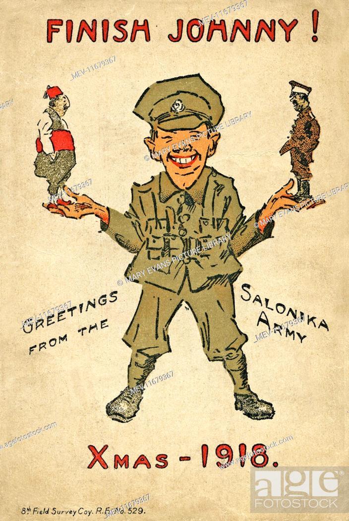 Humorous postcard, British soldier in Salonika -- Finish Johnny ...