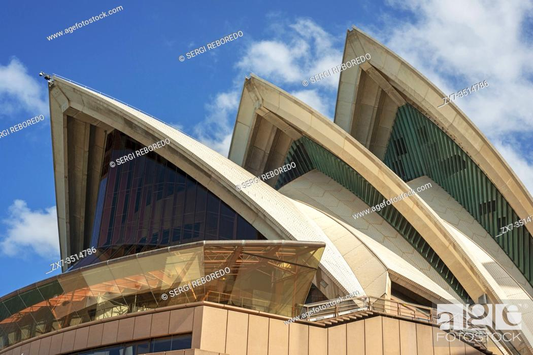 Stock Photo: Outside facade exterior of Sydney Opera House, Sydney, New South Wales, Australia.