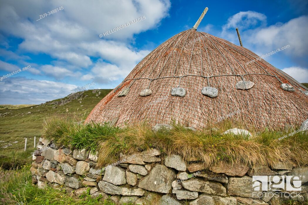 Stock Photo: Reconstructed Iron Age House, Bostadh, Great Bernera, Isle of Lewis, Outer Hebrides, Scotland. A 1993 storm revealed stonework thought to belong to four houses.
