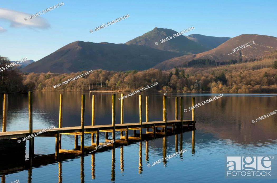 Stock Photo: Causey Pike from the boat landing, Derwentwater, Keswick, Lake District National Park, Cumbria, England, United Kingdom, Europe.