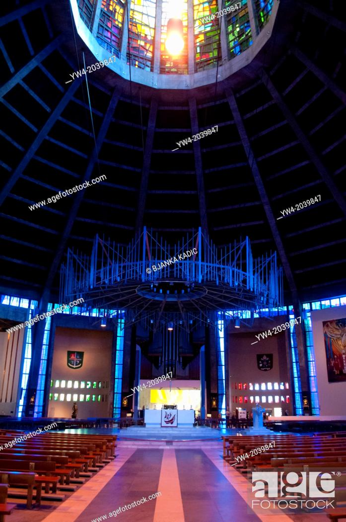 Stock Photo: Nave and altar at Liverpool Metropolitan Cathedral, Liverpool, UK.