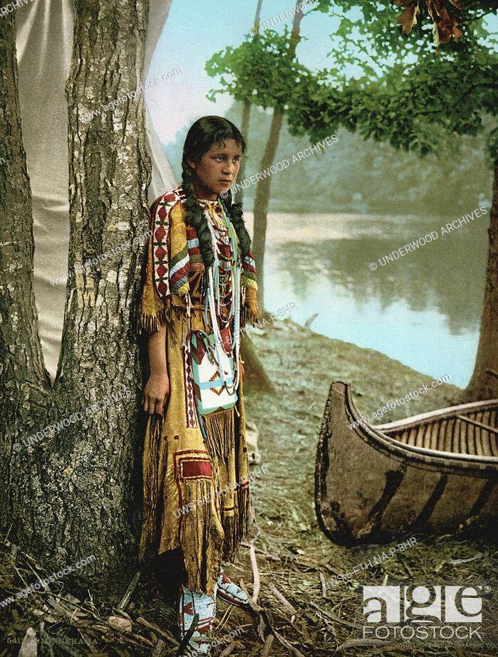 Stock Photo: Minnesota: 1904.A photochrome of Minnehaha as she awaits the arrival of Hiawatha.
