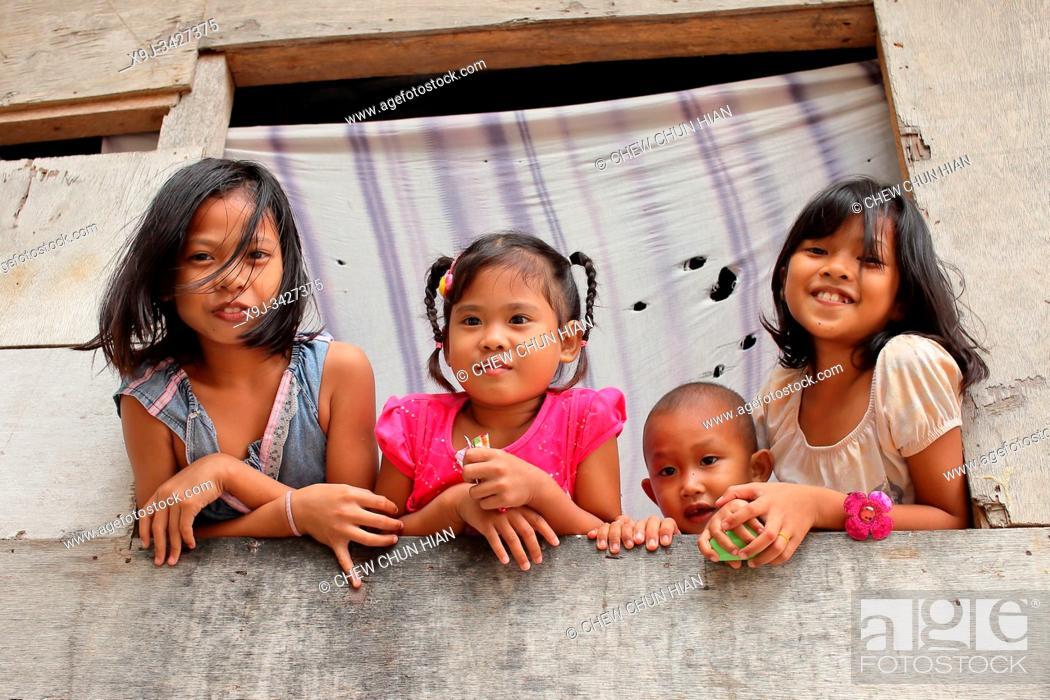 Stock Photo: Bajau people in Mabul island, sabah, malaysia, asia.