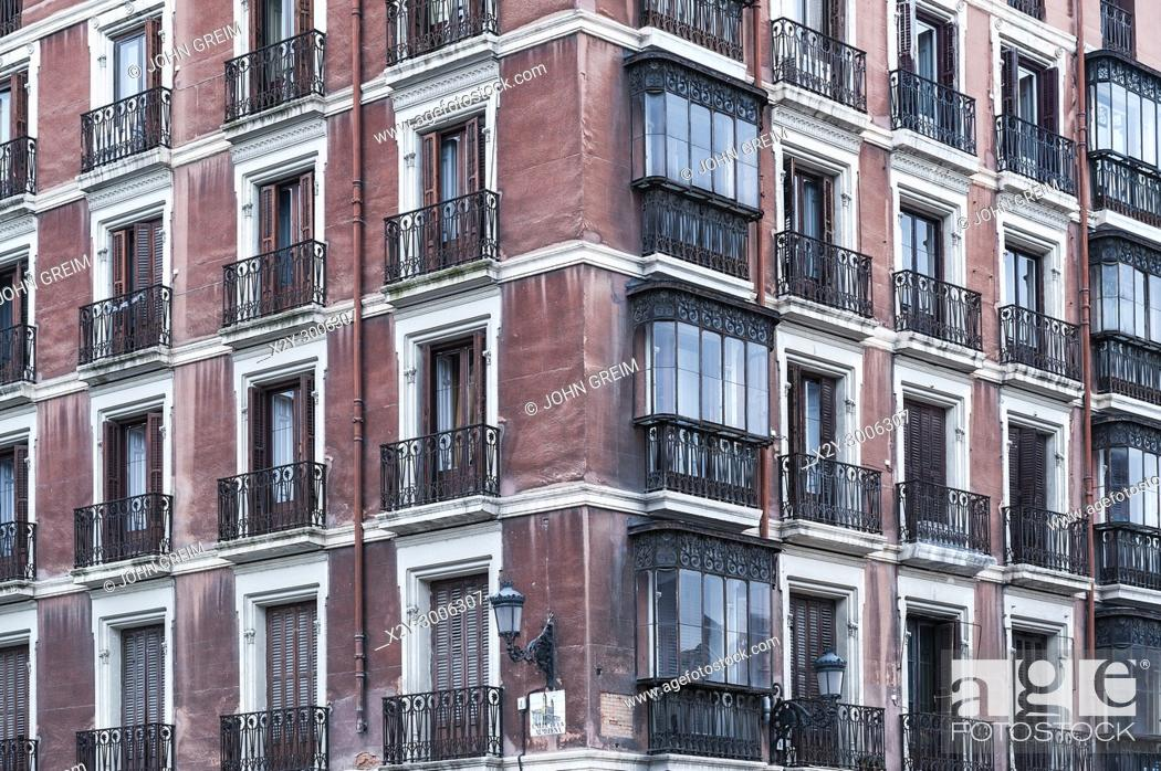 Stock Photo: Apartment building detail, Madrid, Spain.