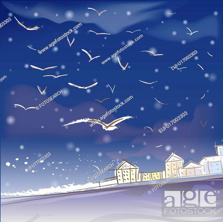 Stock Photo: building, snowing, house, village, seashore, snow.
