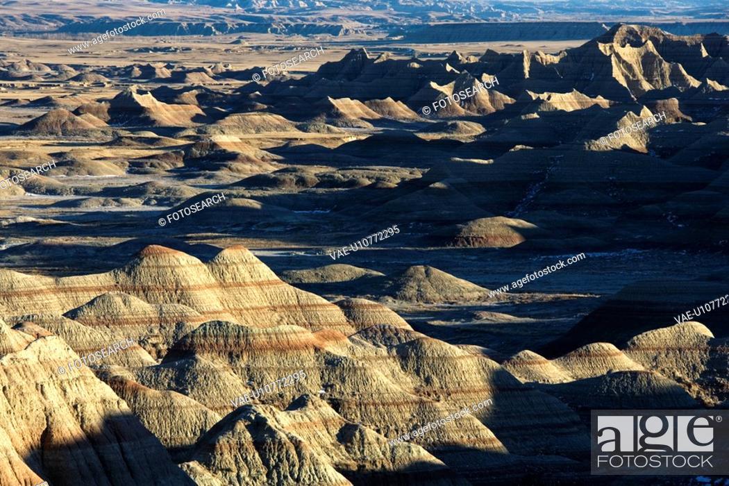 Stock Photo: Overview of landscape in Badlands National Park, South Dakota.