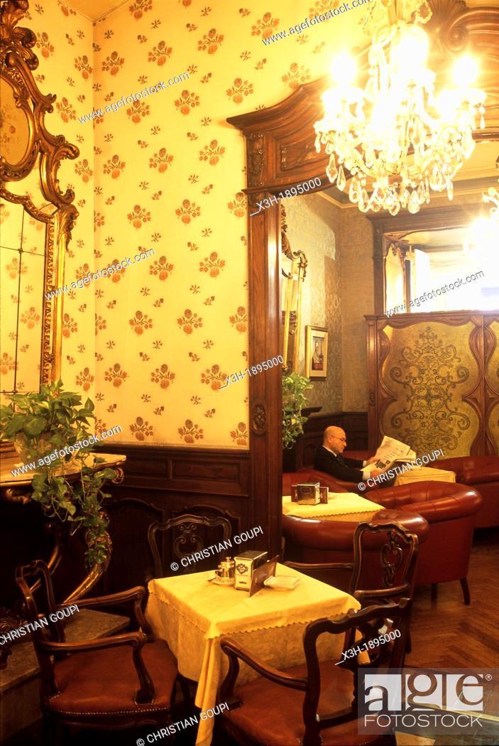 Stock Photo: historic cafe Torino, San Carlo squere, Turin, Piedmont region, Italy, Europe.