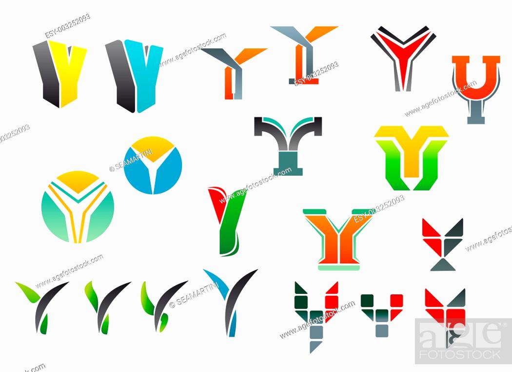 Stock Photo: Set of alphabet symbols and elements of letter Y.