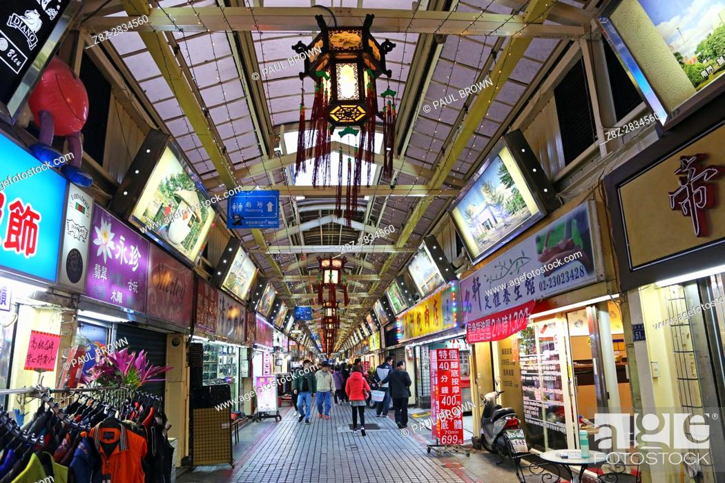 Stock Photo: Taipei Huaxi Street Tourist Night Market in Taipei, Taiwan.