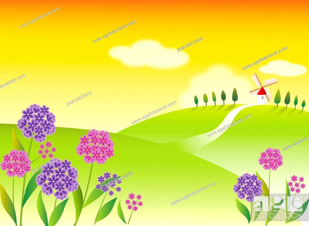 Stock Photo: Illustration and painting of beautiful scenery on a field, with country road leading to a windmill.