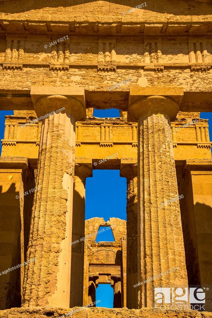 Stock Photo: Temple of Concordia in the Valley of the Temples, Agrigento, Sicily, Italy.