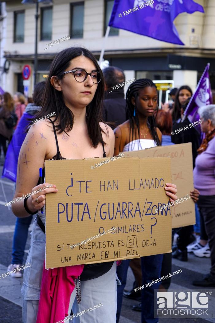 Stock Photo: March 8 manifestation. València. Spain. 2020.